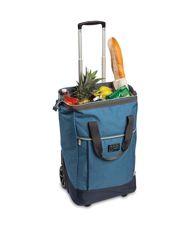 Punta gurulós táska, bevásárlókocsi, nagy, erős, zipzáros, könnyű, színes, nagy teherbírású